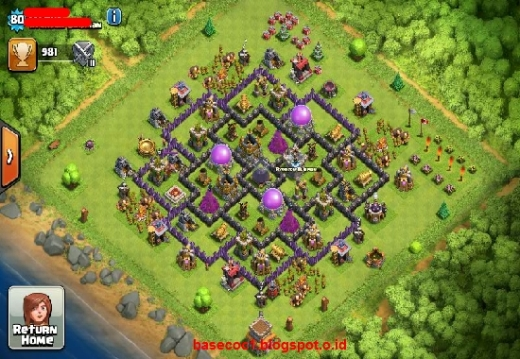 Gambar Base COC TH 8 Type Farming
