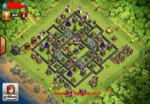 Formasi Gambar Base COC TH 9 Type Farming