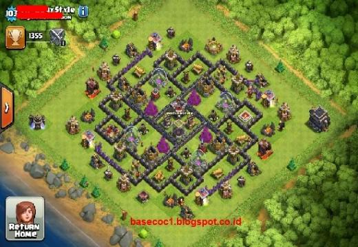 Beberapa formasi gambar base COC TH 9 berikut ini dapat anda pilih. Pilihannya banyak, ada type base farming, hibrid, war dan troopy.