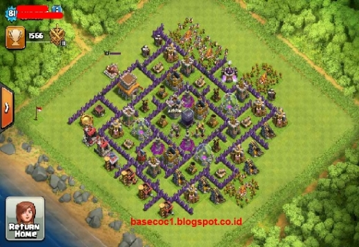 Gambar Base COC TH 8 Type Hibrid